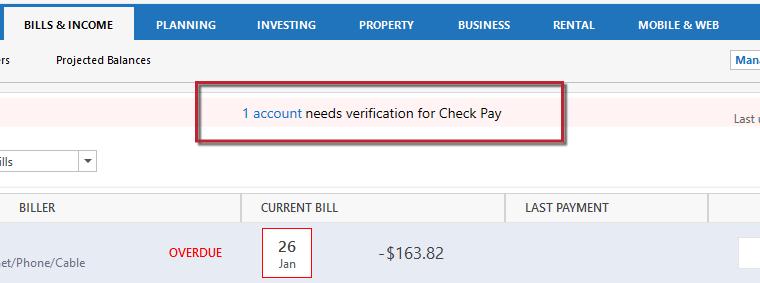 Check Pay Account Needs Verif
