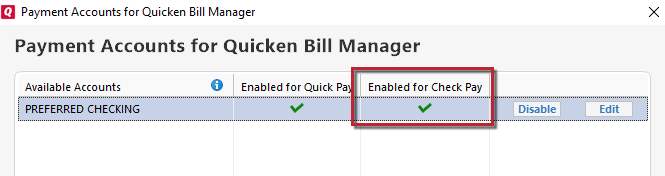 payment account for quicken bill manager